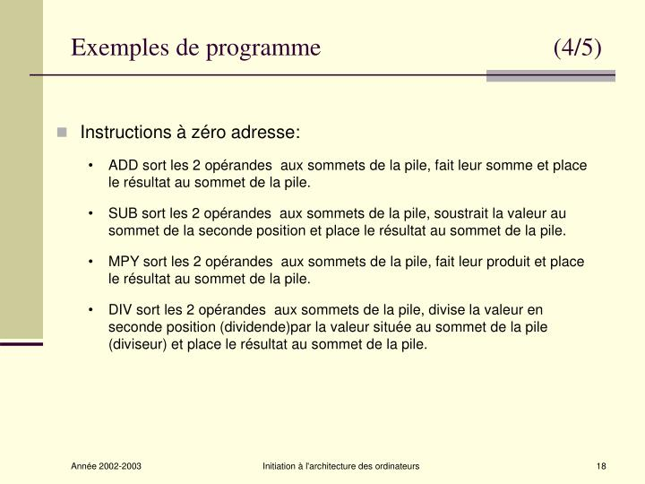 Exemples de programme                                     (4/5)