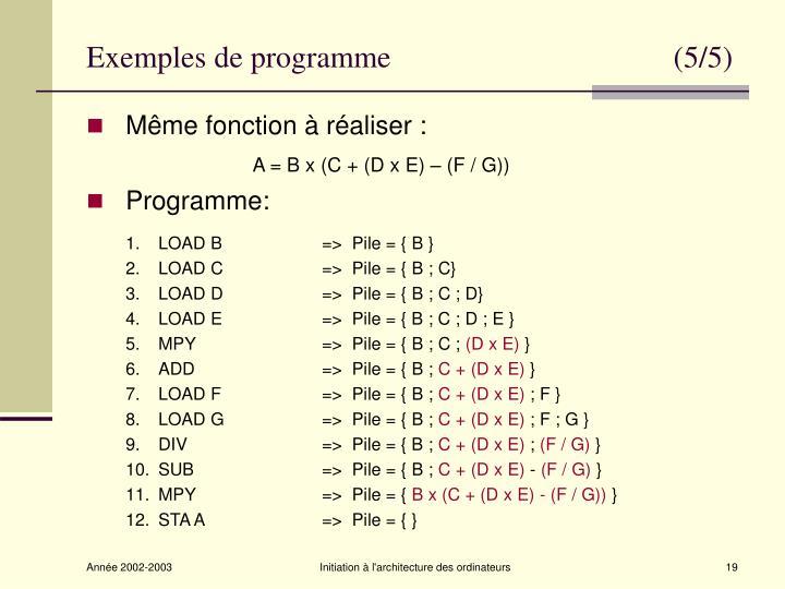 Exemples de programme                                     (5/5)