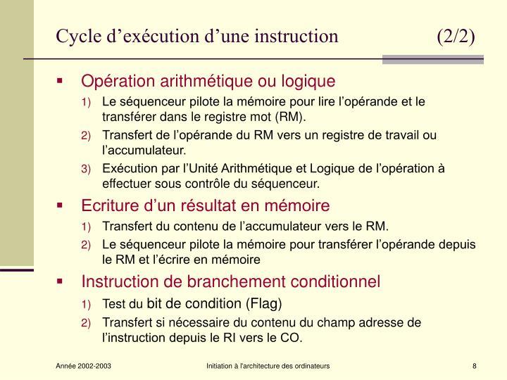 Cycle d'exécution d'une instruction                    (2/2)