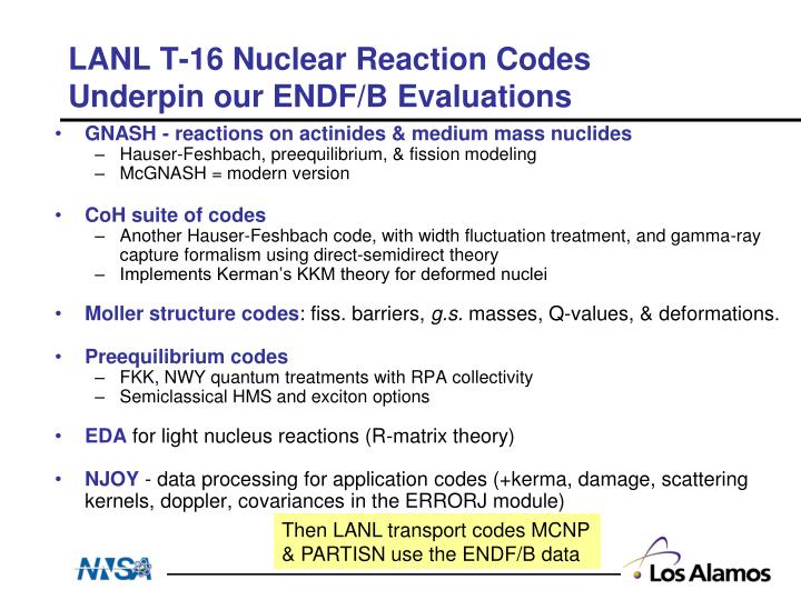 LANL T-16 Nuclear Reaction Codes Underpin our ENDF/B Evaluations