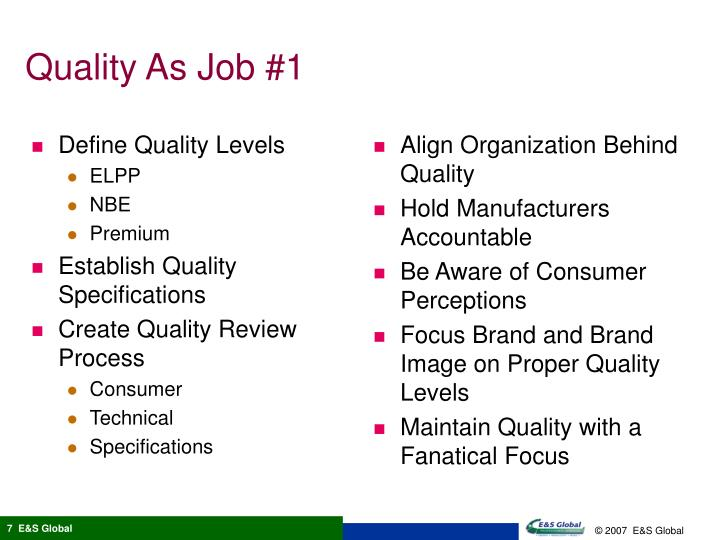 Define Quality Levels