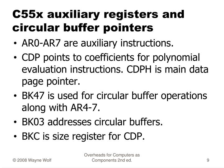 C55x auxiliary registers and circular buffer pointers