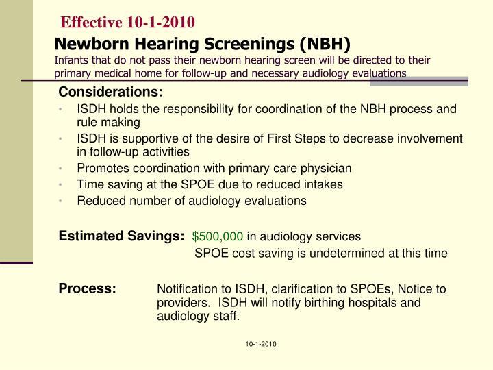 Effective 10-1-2010