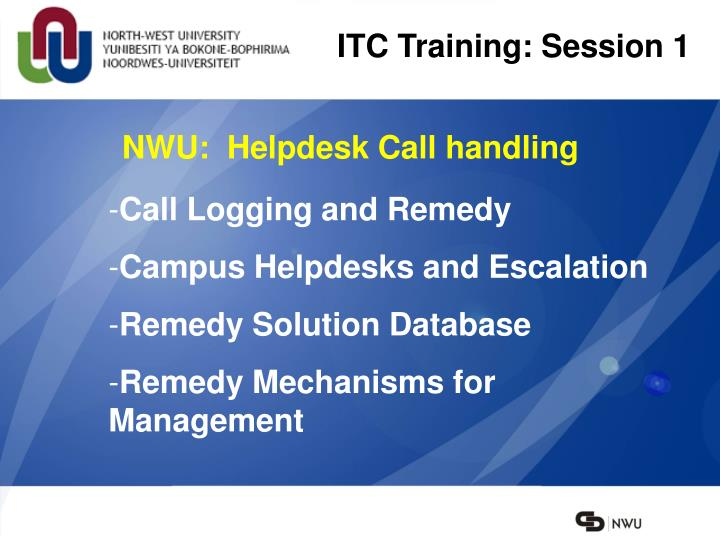 ITC Training: Session 1