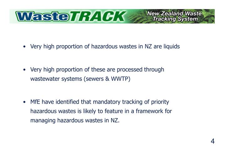 Very high proportion of hazardous wastes in NZ are liquids