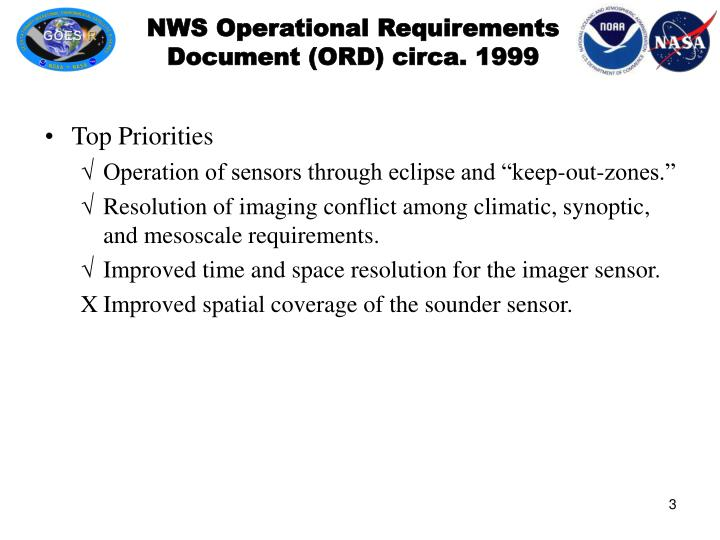 Nws operational requirements document ord circa 1999