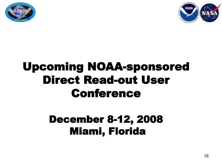 Upcoming NOAA-sponsored Direct Read-out User Conference