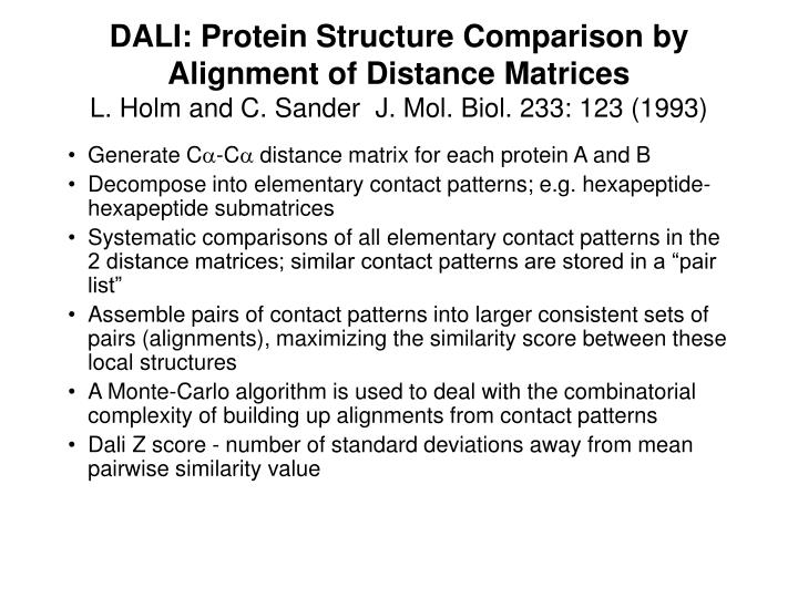 DALI: Protein Structure Comparison by Alignment of Distance Matrices