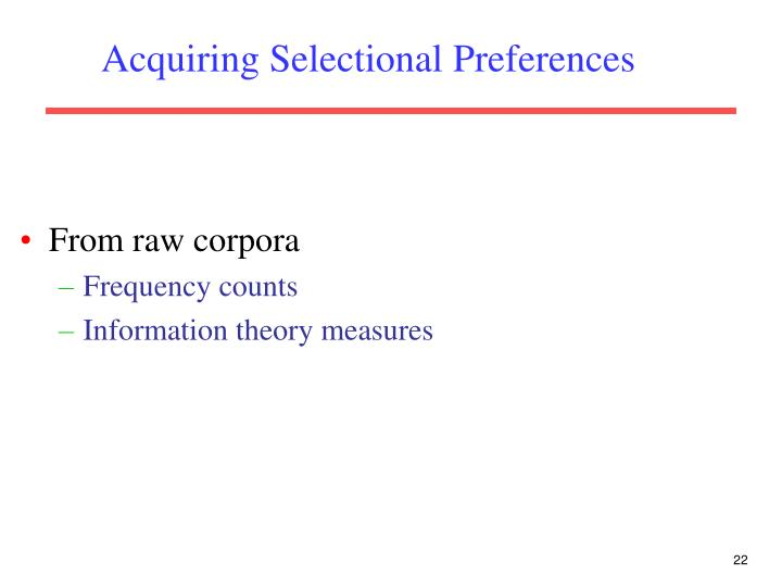 Acquiring Selectional Preferences