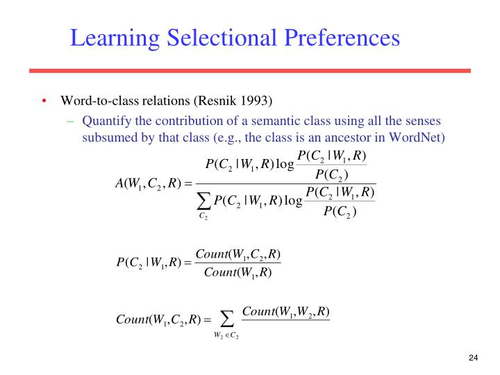 Learning Selectional Preferences