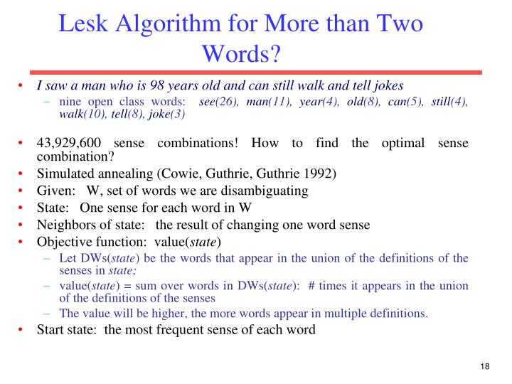 Lesk Algorithm for More than Two Words?