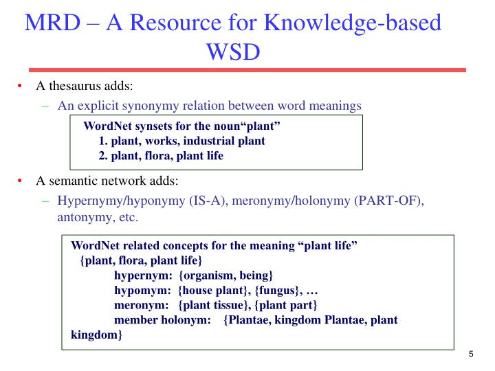 MRD – A Resource for Knowledge-based WSD