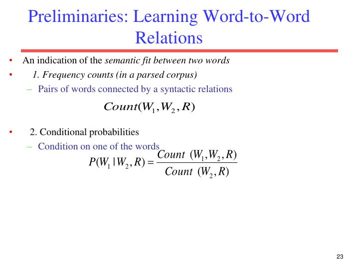 Preliminaries: Learning Word-to-Word Relations