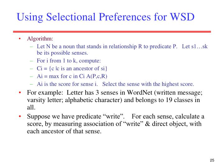Using Selectional Preferences for WSD
