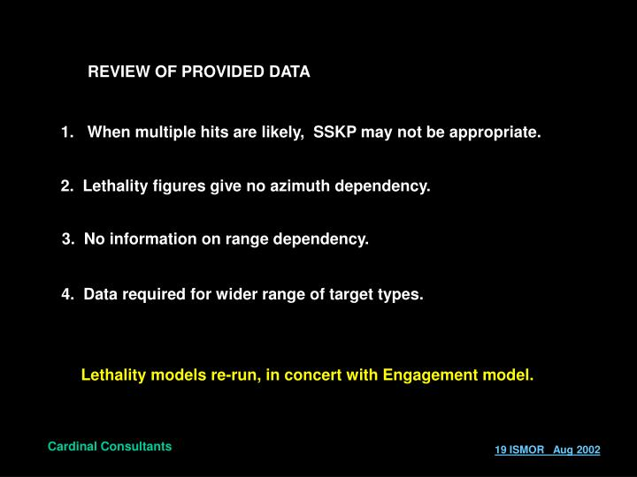 REVIEW OF PROVIDED DATA