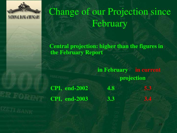 Change of our Projection since February