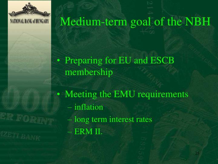 Medium-term goal of the NBH