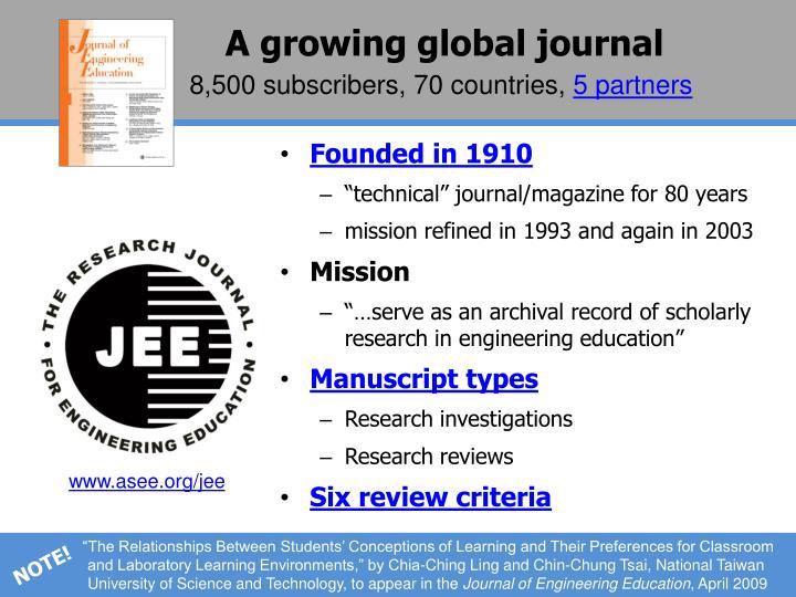 A growing global journal