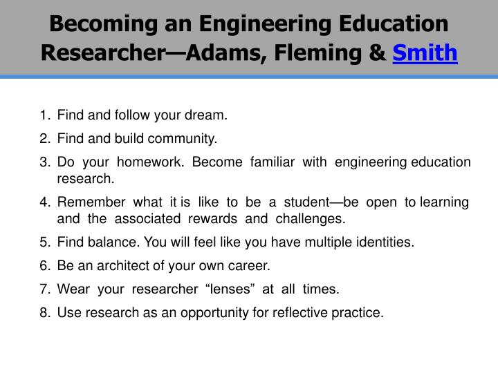 Becoming an Engineering Education Researcher—Adams, Fleming &