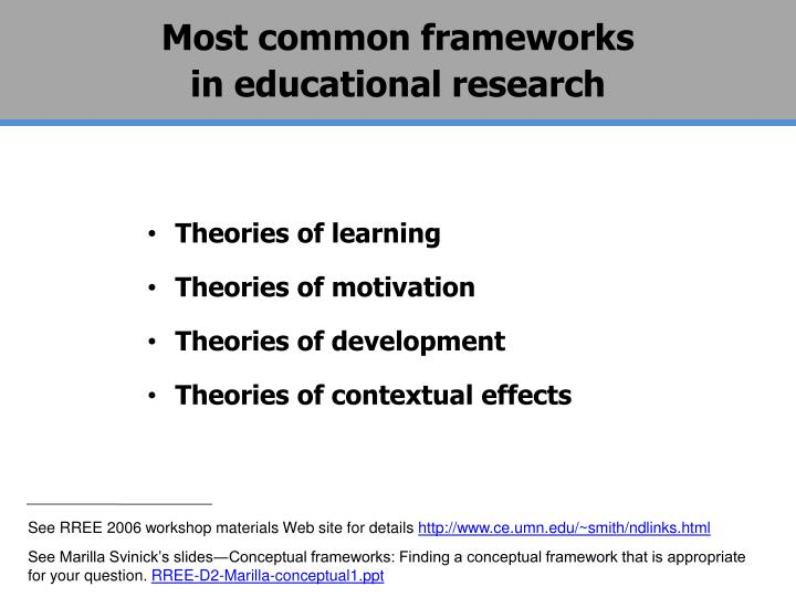 Most common frameworks                           in educational research
