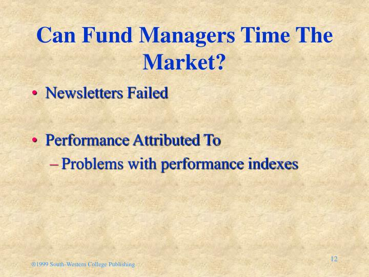 Can Fund Managers Time The Market?