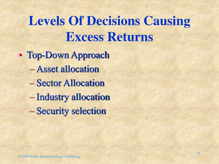 Levels Of Decisions Causing Excess Returns