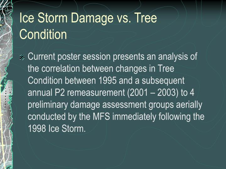 Ice Storm Damage vs. Tree Condition