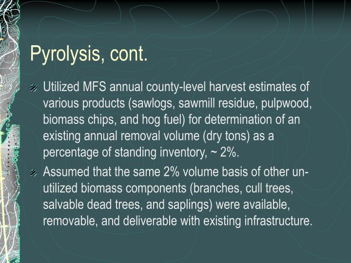 Pyrolysis, cont.