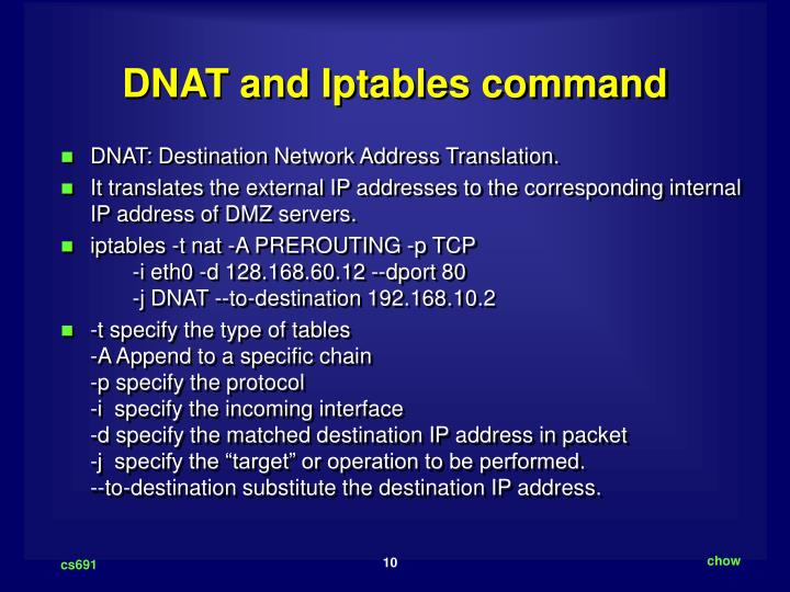 DNAT and Iptables command