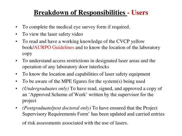 Breakdown of Responsibilities