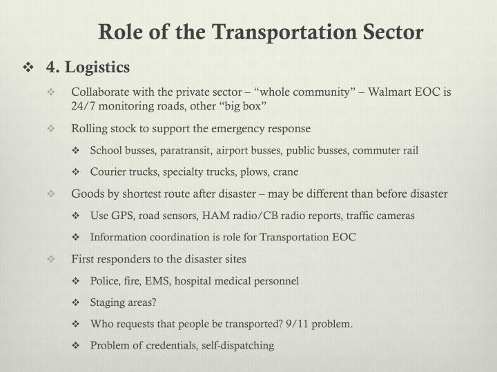 Role of the Transportation Sector
