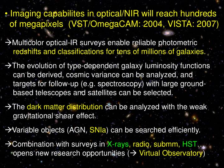 Imaging capabilites in optical/NIR will reach hundreds