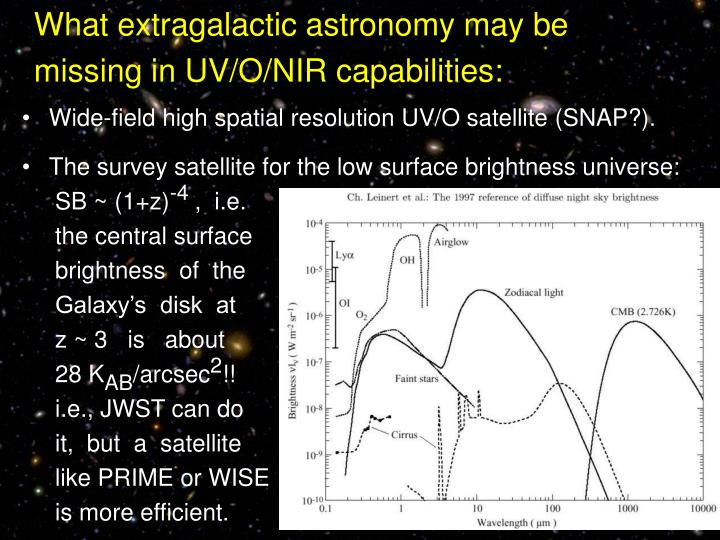 What extragalactic astronomy may be missing in UV/O/NIR capabilities: