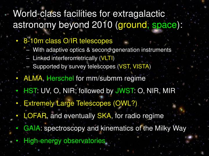 World-class facilities for extragalactic astronomy beyond 2010 (