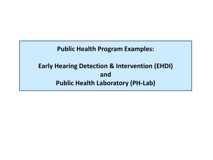 Public Health Program Examples: