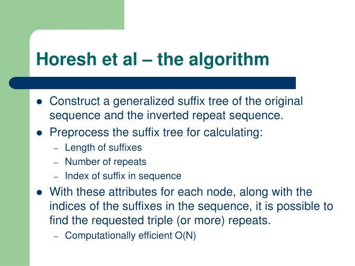 Horesh et al – the algorithm