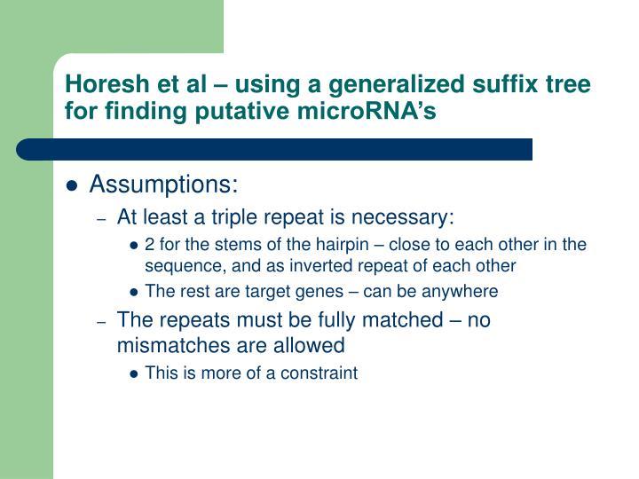 Horesh et al – using a generalized suffix tree for finding putative microRNA's