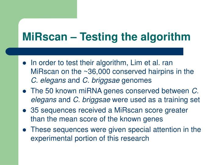 MiRscan – Testing the algorithm