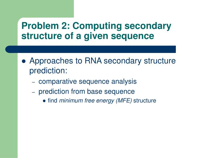 Problem 2: Computing secondary structure of a given sequence