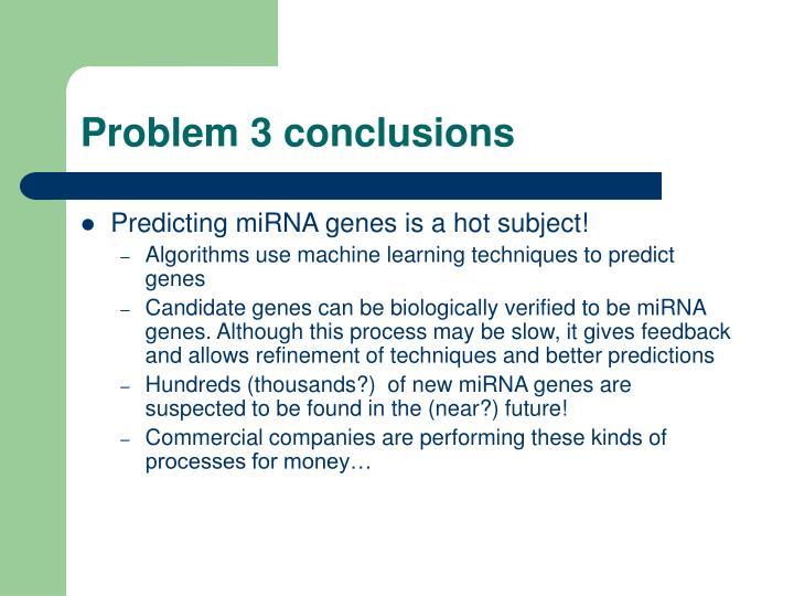 Problem 3 conclusions