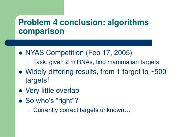 Problem 4 conclusion: algorithms comparison
