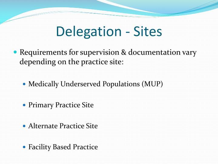 Delegation - Sites