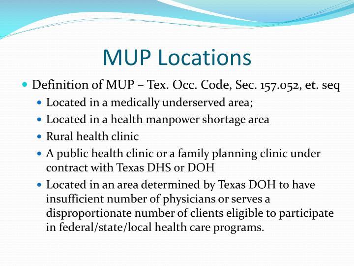 MUP Locations