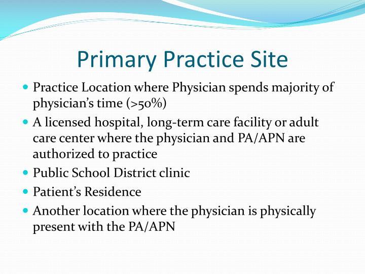 Primary Practice Site