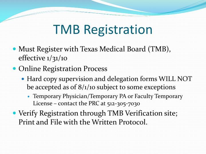 TMB Registration