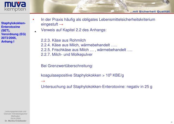 Staphylokokken-Enterotoxine (SET), Verordnung (EG) 2073/2005, Anhang I