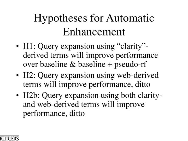 Hypotheses for Automatic Enhancement