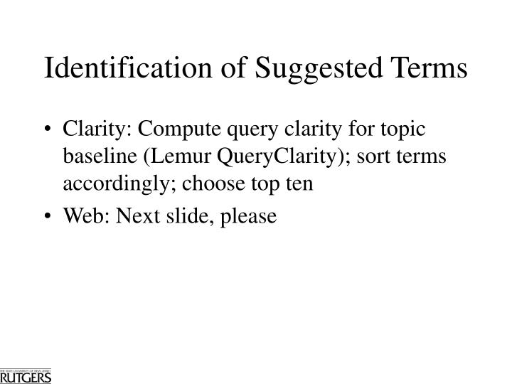 Identification of Suggested Terms