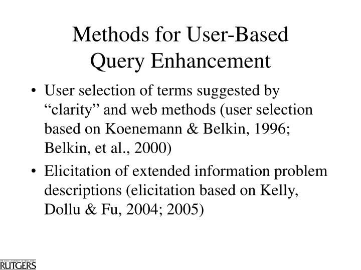 Methods for User-Based