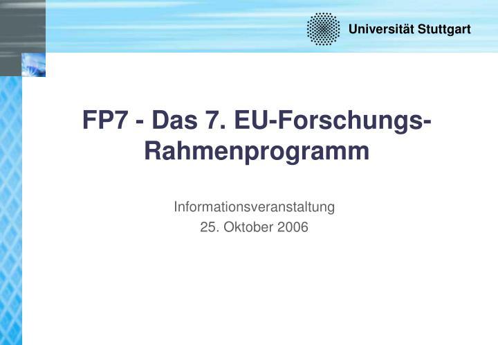FP7 - Das 7. EU-Forschungs-Rahmenprogramm